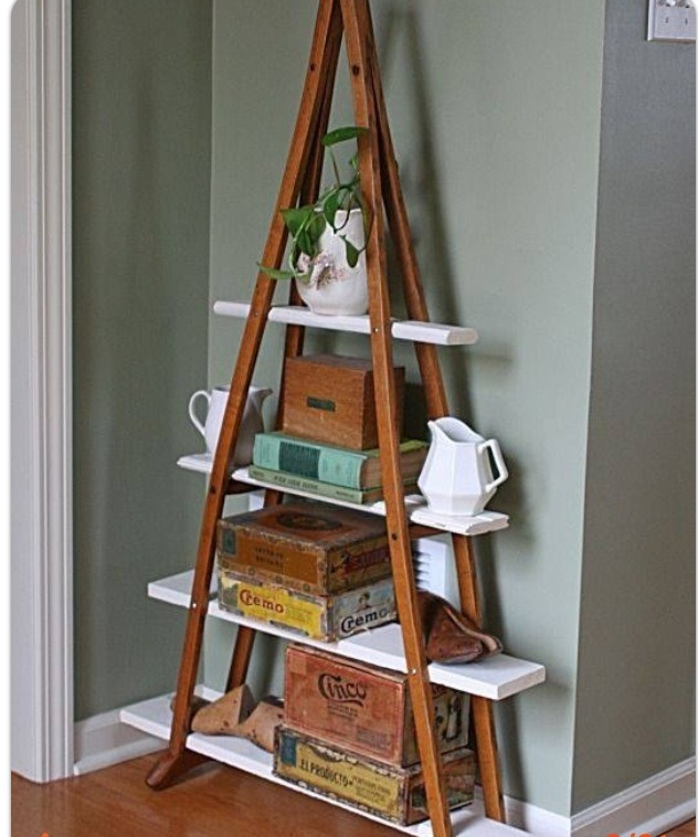 Use old cruches for shelves