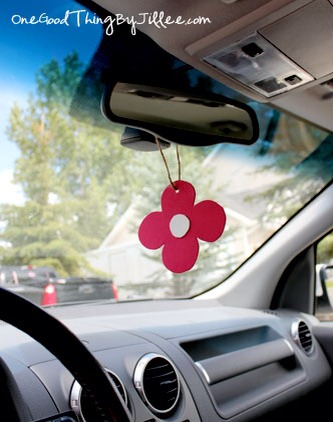 You can now hang it over the rearview mirror or anywhere else you desire in your car. When the fragrance disappears after a month or two, just simply apply another drop or two of essential oil or the air freshener spray.
