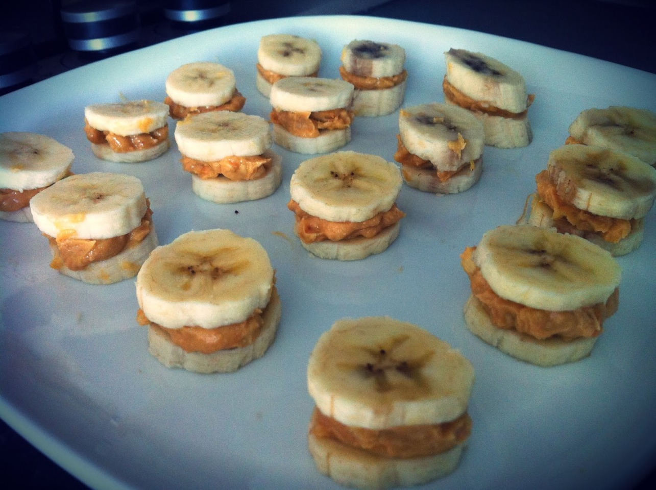 Peanut butter and banana sandwiched