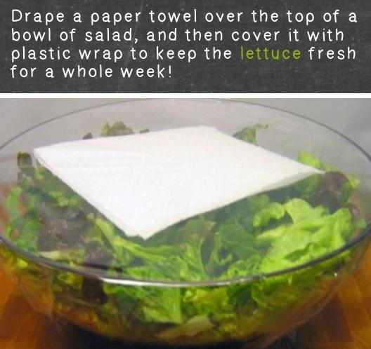 put wet paper towels over your lettuce and then plastic wrap over the bowl to keep your lettuce fresh for a week