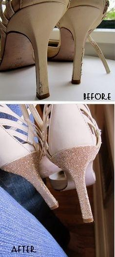 12. Use glitter and glue to repair shoes.