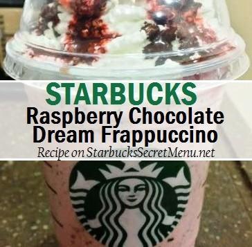 -Vanilla Bean Frappuccino -Add rasbperry syrup (2 pumps tall, 3 grande, 4 venti) -Add white mocha sauce (2 pumps tall, 3 grande, 4 venti) -Add cinnamon dolce syrup (1 pump tall, 1.5 grande, 2 venti) -Add java chips -Top with mocha drizzle and half a pump of raspberry