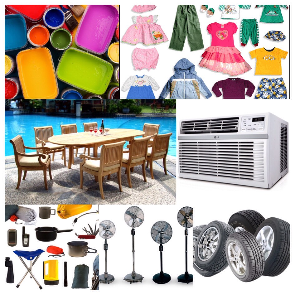 September- children's clothing air-conditioners paint camping goods fans patio and pool items and tires.