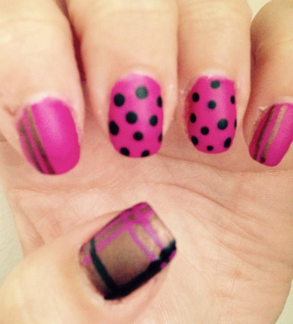 Pink with brown stripes , pink with black dots , brown with pink and black lines