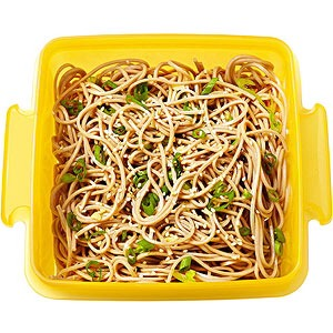 Soba-noodle salad  Bell pepper strips and ranch dip  Kiwi  Makes:4 cups  Start to Finish 20 mins