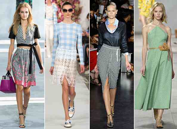 "Gingham It's officially picnic season. Stay in ""check"" this season with high-slit gingham dresses, full skirts, and skin-showing crops created by such high-end designers as DVF, Michael Kors, and Altuzarra."