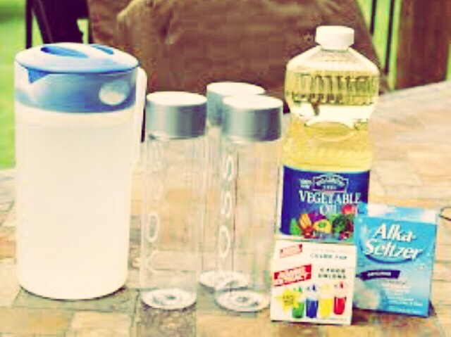 You need water, food coloring, Alkaseltzer  tablets,empty soda bottle and vegetable oil