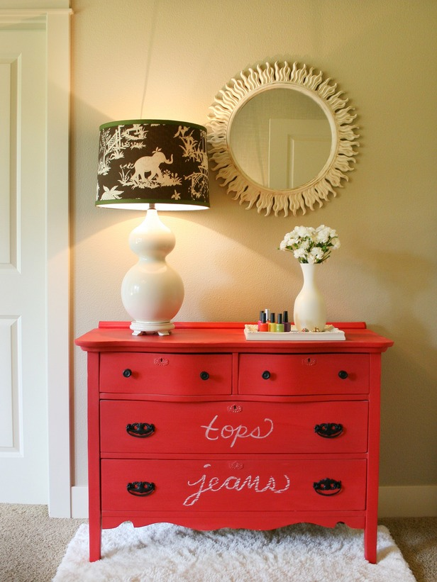 In a Day: Turn a Dresser Into a Chalkboard A coat of chalk paint turns an eyesore into an artist's canvas. Or, for the super-organizers among us, another way to label every single drawer. Use chalk pens to avoid smudging and dust.