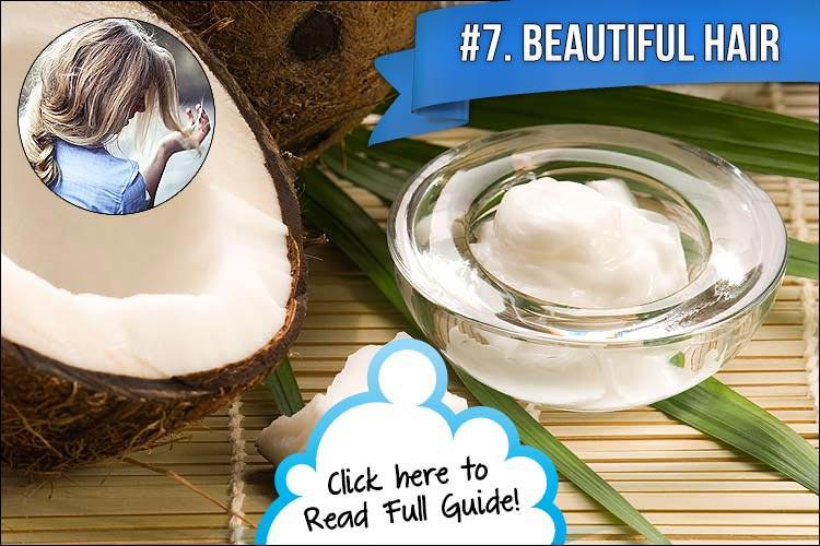 7. Deep Conditioner  You can use coconut oil to help hydrate your hair as a deep conditioner. Simply heat up some hot water and add a little coconut oil to it. Then take the conditioner and massage it in your scalp and hair. Your hair will be glowing, healthy, and shiny!