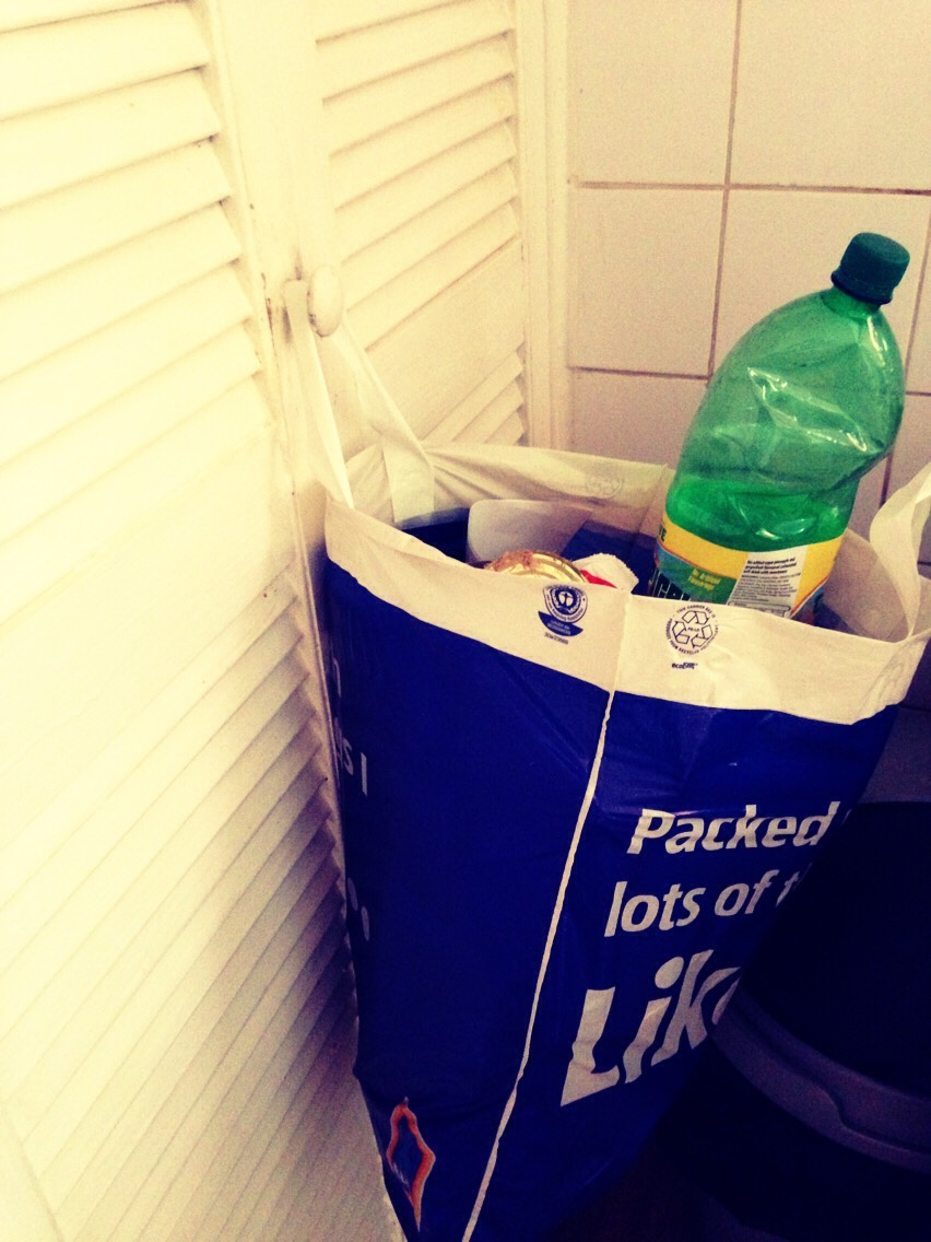 If you need a recycle bin then why not reuse your shopping bags and use them to put recyclable objects into.