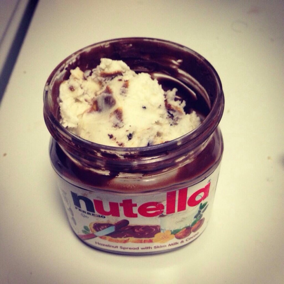 empty Nutella? ice cream and Nutella are the perfect combination and way to finish a container