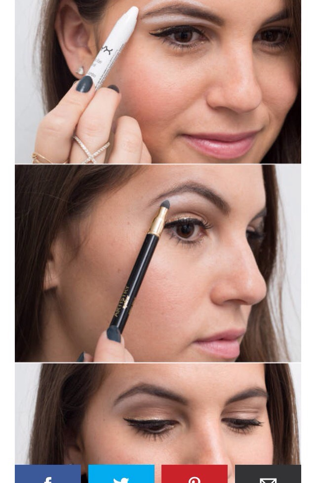 15. Use white eyeliner as a brow highlighter for an instant eye lift. Line below and above your eyebrows with a thick white liner, and smudge it out with a sponge brush to define your brows.