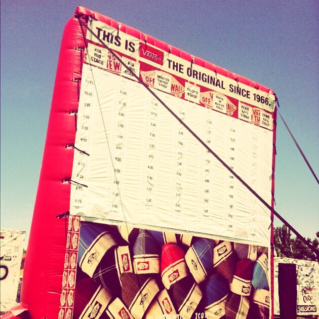 Look for the big red inflatable (👆) it says all the set times and stages that your favorite bands will be performing on!