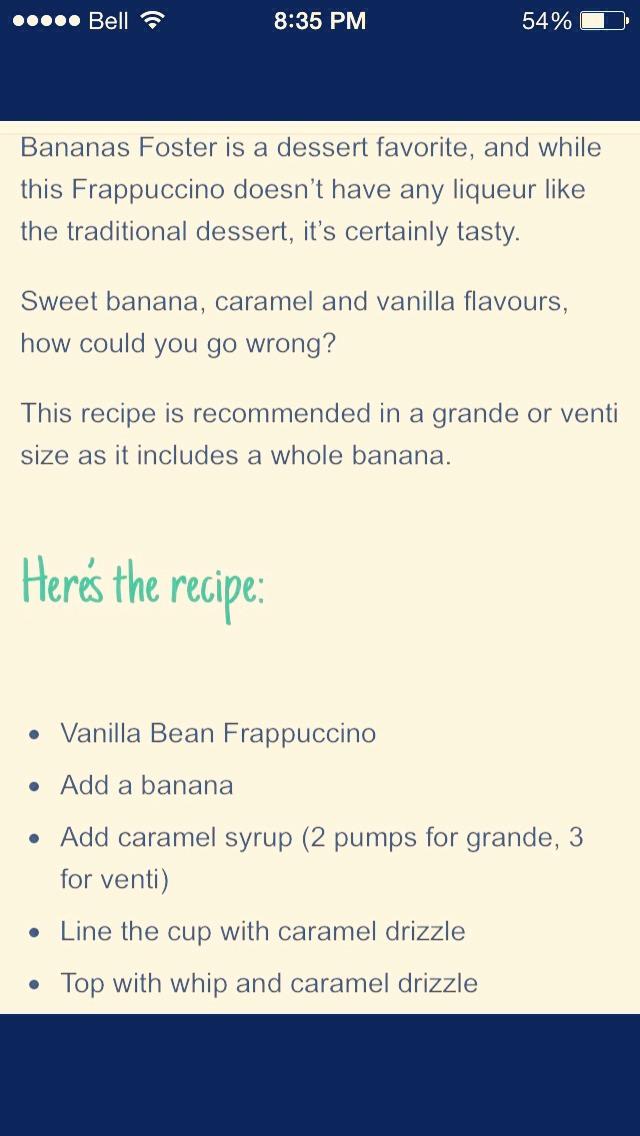 Bananas Foster Frappucino