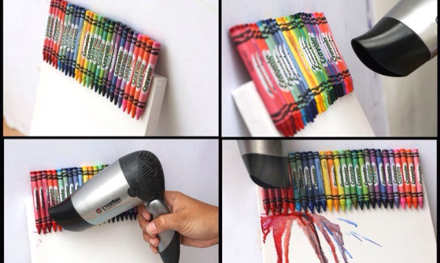 Step 4: Use your blow dryer and blow the crayons It is best to tilt the blow dryer downwards like show in the picture. This step will be messy, but that it how you create the desired affect.