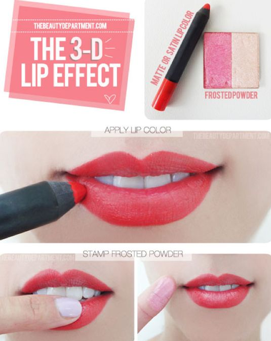 Using your finger and a light pink eyeshadow you can create this 3D effect!