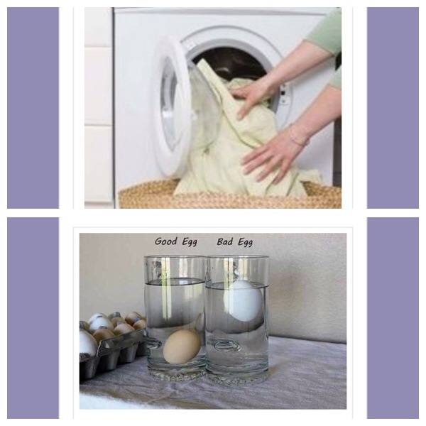 1. Put a dry towel in with a wet load to reduce the drying time  2. To tell if eggs are fresh, immerse them in a bowl of water. Fresh eggs will lie on the bottom, while stale eggs will float to the surface