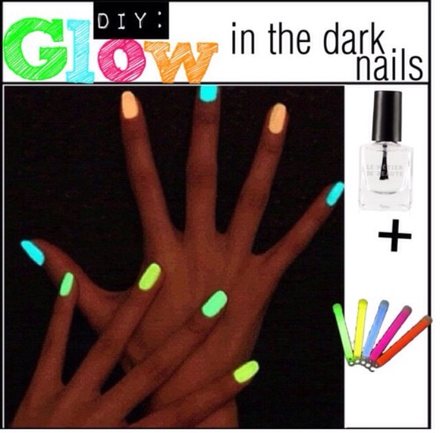 Clear nail polish + glow stick. Cut the tip of a glow stick and pour it into your clear nail polish, mix it well and paint your nails 💅