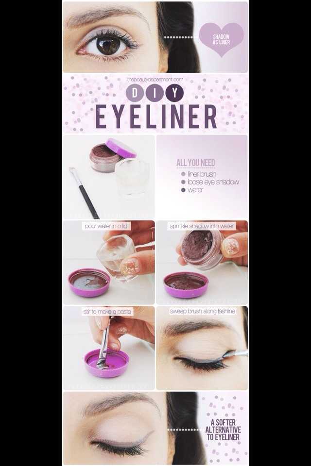 Use water and eyeshadow for eyeliner!