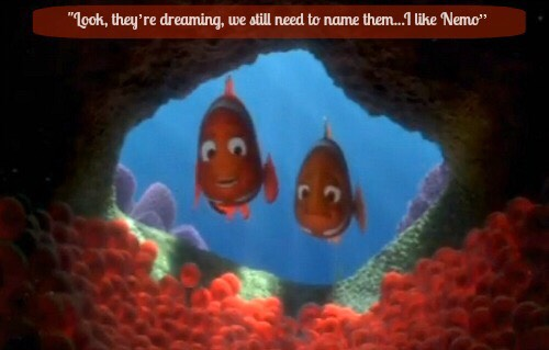 "💕Coral says to Marlin, ""Look, they're dreaming, we still need to name them...I like Nemo""💕"