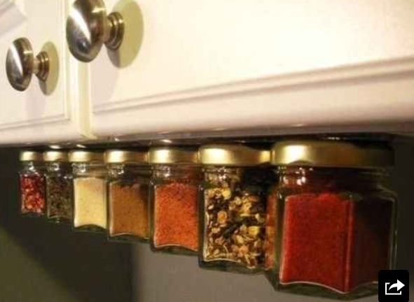Magnetize the bottom of cabinets for extra spice storage.
