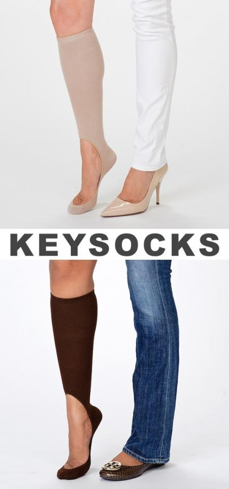 5. Keysocks If you like to wear flats or heels in the winter, these no-show socks (you can find them here) were made for you. They keep you warmer than footies without slipping off in the back so you can wear them to stay warm and comfortable with your favorite pair of shoes.