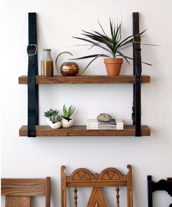 Recycled Leather and Wood Shelves Grab some old belts and some wood and turn it into this unique shelf!