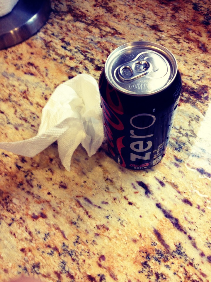 Before opening a can of soda, wipe off the top of the can with a clean moist wash cloth or damp paper towel. This reduces the risk of getting sick from any unwanted germs (such a fluids that might've dripped into the box) from the can's opening that your lips touch while drinking. Hope this helps!