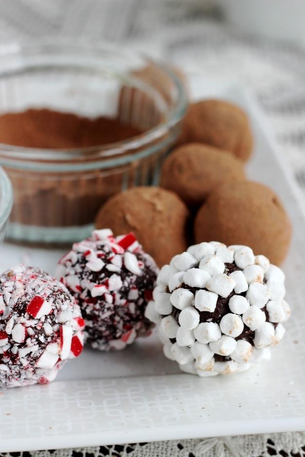 Box of Hot Chocolate Truffles  http://www.buzzfeed.com/peggy/38-ways-to-give-the-gift-of-food-this-season#.eyGwAK0P6