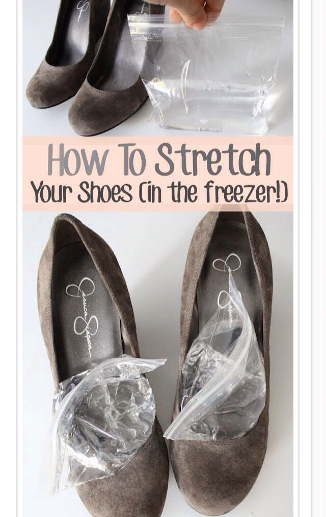 Stretch your tight shoes by putting water in a plastic zip-lock bag and putting them in your freezer!