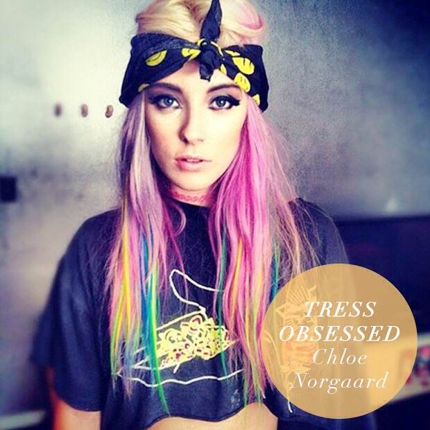 Model Chloe Norgaard is a hair color chameleon! Check out some of her other looks for hair extension and hair chalk ideas!