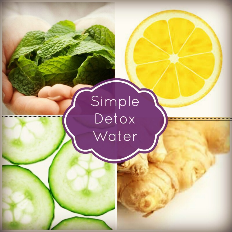 Cut up 1/2 a cucumber, 5-10 slices of fresh ginger, some mint leaves and 1-2 lemons cut up, leave to infuse in 2L of water for a few hours and yet another nice light refreshing water, GREAT for the system, very cleansing and I find decreases nasty bloating