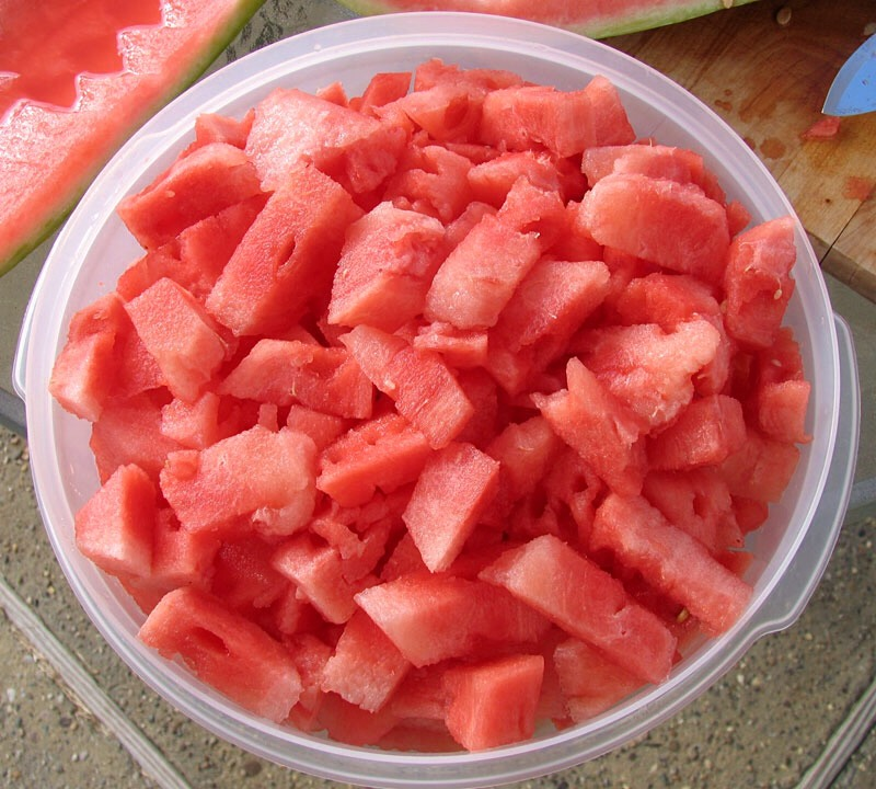 Cut up water melon and put in a bowl