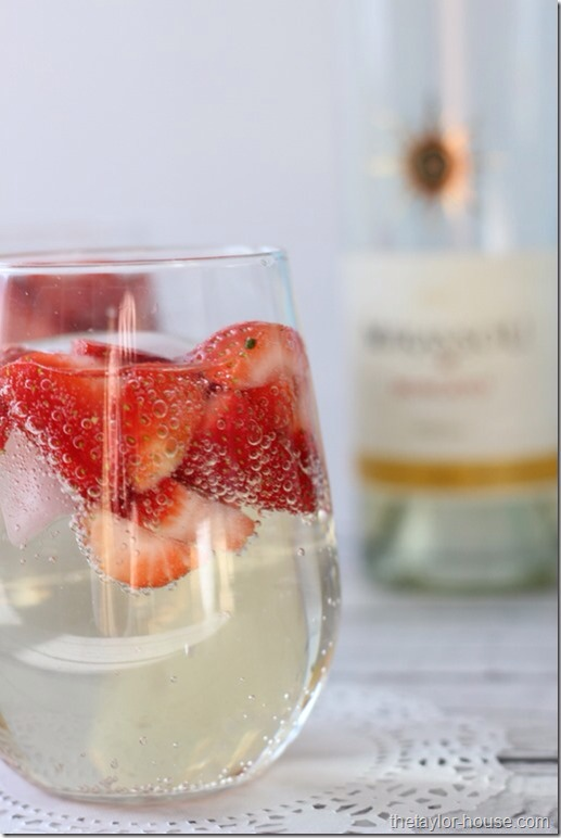 --> Directions;  -> In a pitcher add half of the bottle of Mirassou Moscato Wine -> Add an equal amount of Seltzer Water into the pitcher -> Add your diced strawberries and lemons if you want to use them