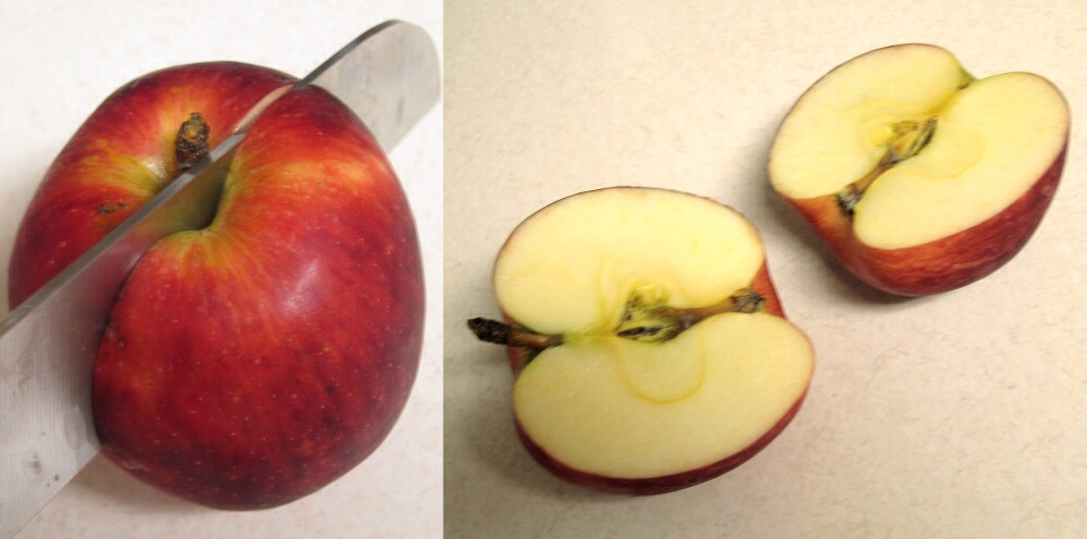 Slice an apple in half and then dip in paint