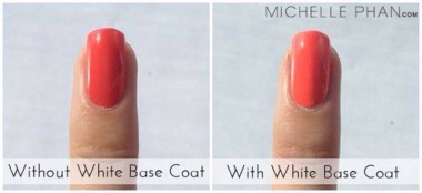 Use a coat of white nail polish instead of a base coat. This will make your nail color stand out more. It will still protect your nails from becoming stained by colored polishes.💞