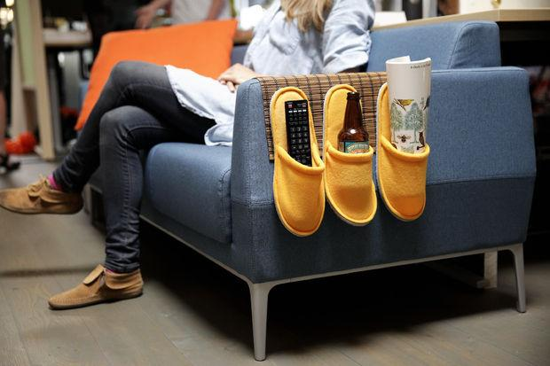 Slippers can make awesome remote control holders.  .