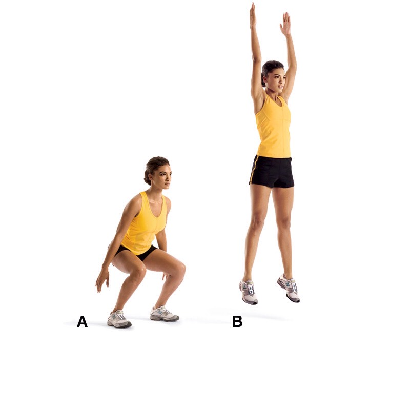 15 squat jumps ~core and butt~