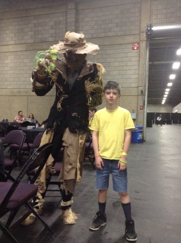Scared to death by the scarecrow~he's been working on his costume for over the past four years and was super proud of his work and told my son all about his labour!