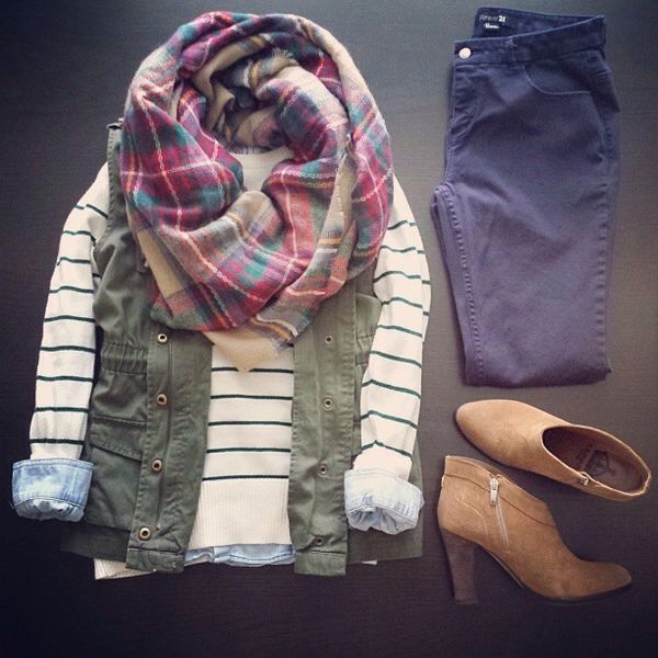 Chambray stripes layered over denim button up and under olive vest. Plaid Zara scarf. Navy skinnies and tan heeled boots. Perfection.