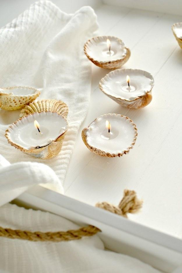 6. These seashell tealights that would make perfect stocking stuffers.  http://www.burkatron.com/2014/11/diy-handmade-gift-ideas-shell-candles.html