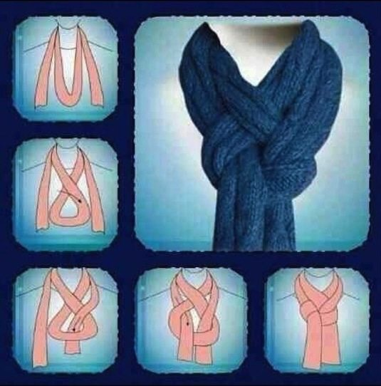 22. Scarf Tying Tip I love this one because it's easy but looks like you actually have a sense of style, AND it stays put! Just try it once and you will always tie your scarves like this.