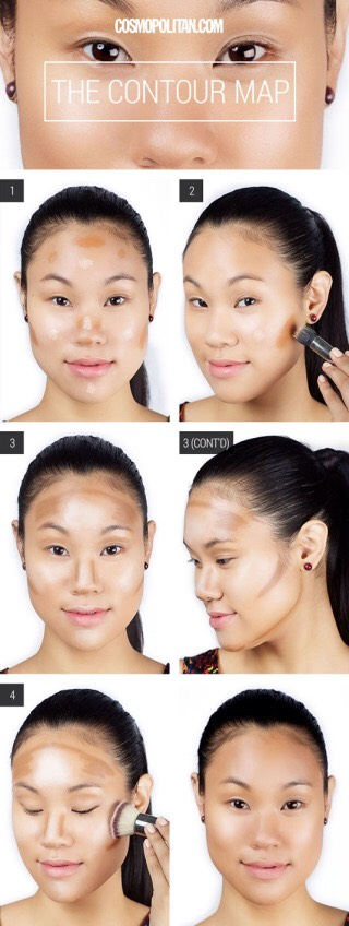 Mark the areas to contour with a dark-colored gel eyebrow pencil. You can easily smudge and blend this makeup for perfect contouring. Finish the look with an all-over cream highlighter on your cheekbones, the center of your forehead, and the Cupid's bow.😛