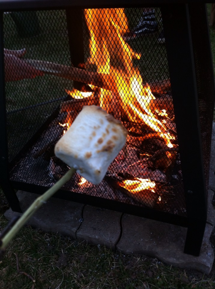 Put your marshmallow on a stick and stick it in the fire, this took me approx 5 seconds!😋
