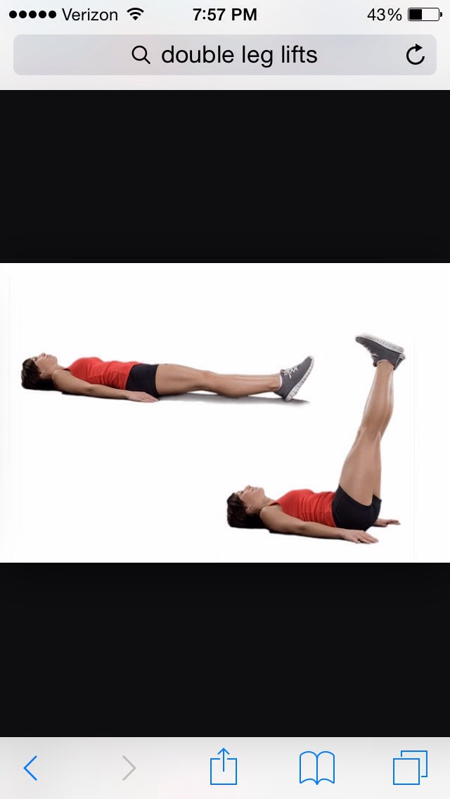 Double leg lifts also help. With your core and keep it in shape. They aren't that hard to do so I would suggest 30-40 lifts.