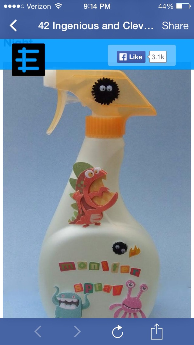 Take an old spray bottle and clean it well, fill with water at decorate with fun stickers and u now have monster spray!