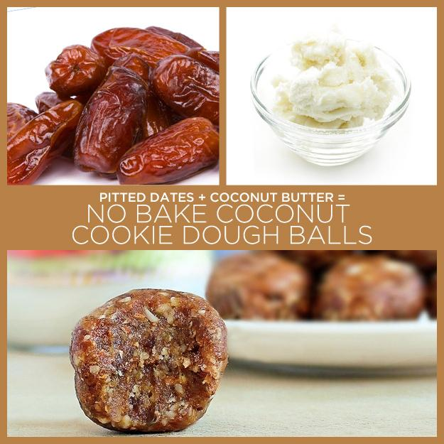 2. Pitted Dates + Coconut Butter = No Bake Coconut Cookie Dough Balls