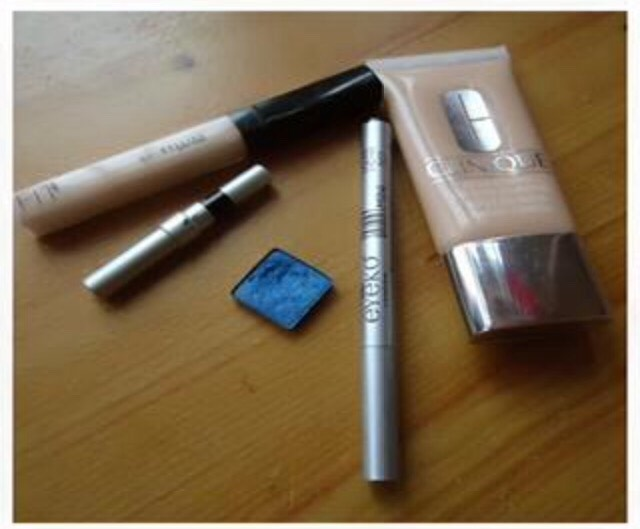 What you will need:  Concealer/foundation that matches your skin tone Blue eyeshadow  Black eyeliner pencil