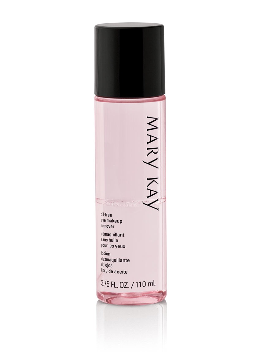 Mary Kay Eye Makeup Remover.  This makes the hassle of taking your makeup off super easy.  Rub it over your eyes and POOF, it's dissolved.  Even with my waterproof stuff, this will do the trick.  It's not oily, and it leaves your skin feeling soft when you're done.