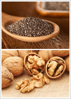 CHIA SEEDS | Omega-3fatty acids help maintain cell membranes by protecting the skin +providing it with moisture. Chia seeds + walnuts are rich in these fatty acids (great choices if you're a vegetarian), as are wild bison + oily fish (great options if you're a meat-eater).